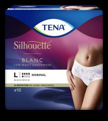 TENA Silhouette Normal Blanc L INKOHOUSUT NAISILLE, KUKKAKUVIO, MATALA VYÖTÄRÖ 10 KPL